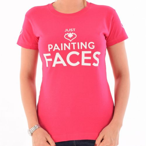 Female Crew Neck T-Shirt ~ Pink Just Painting Faces